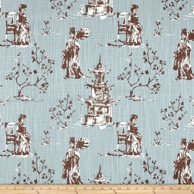 Premier Prints Asian Toile Regal Blue Slub