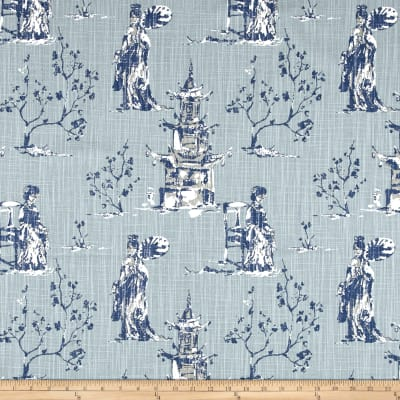 Premier Prints Asian Toile Regal Navy Slub