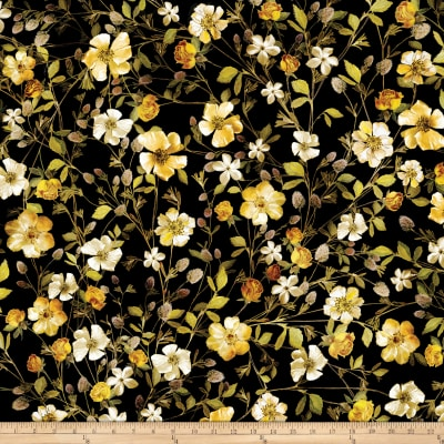 Kanvas Natural Beauty Metallic Wildflowers Black