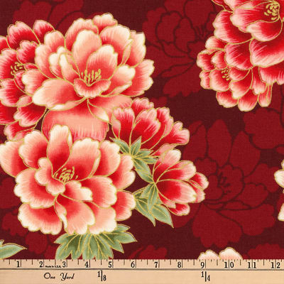 Kaufman Imperial Collection Metallic Flowers Crimson
