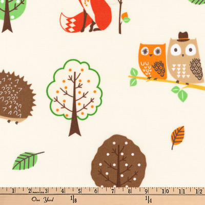 Kaufman Forest Fellows Slicker Laminated Cotton Collage Ivory
