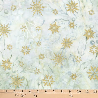 Kaufman Batiks Metallic Northwood Hollies Winter