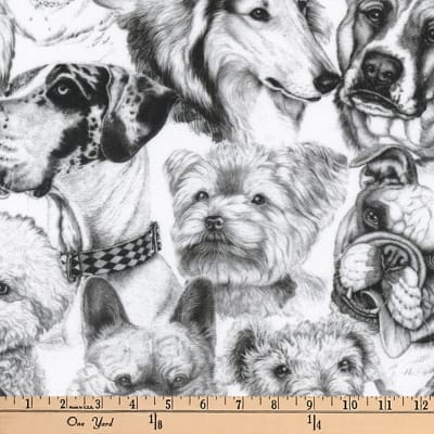 Kaufman Whiskers and Tails Digital Prints Dog Collage White