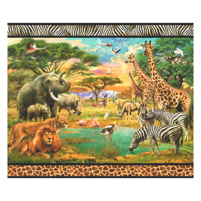 "Kaufman Digital 35"" Panel African Scenic Double Border Wild"