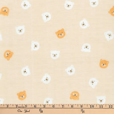 Kaufman Comfy Double Gauze Bears Tan