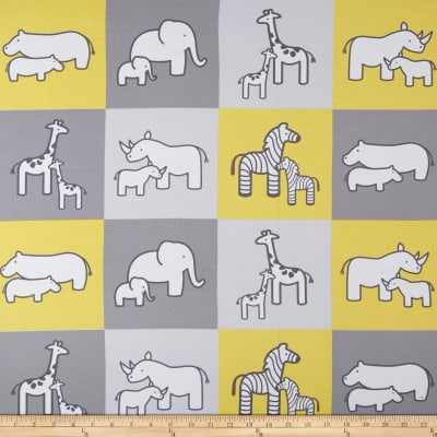 Kaufman Little Safari Flannel Blocks Yellow