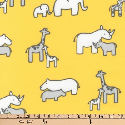Kaufman Little Safari Flannel Collage Yellow
