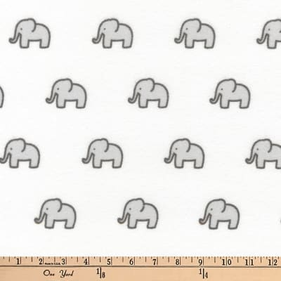 Kaufman Little Safari Flannel Elephants Grey