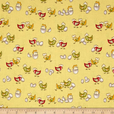 Country cuisine baby chicks yellow discount designer for Yellow baby fabric