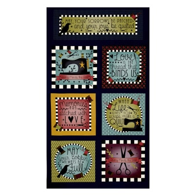 "Primitive Stitches Primitive 36"" Panel Blocks Navy"
