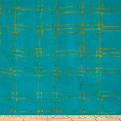 Alison Glass Handcrafted Batiks Chroma Plaid Turquoise