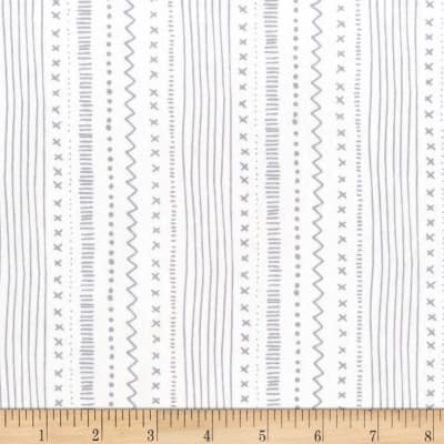 Michael Miller Woodland Winter Stitches And Stripes Snow
