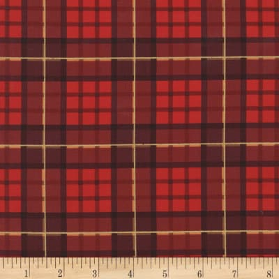 Michael Miller Nutcracker Metallic Nutcracker Plaid Cranberry