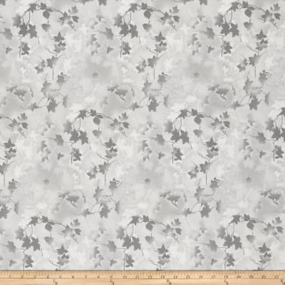 "Ivy 118"" Wide Back Leaves Light Gray"