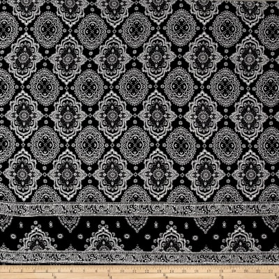 Rayon Crepe Double Border Medallion Black/Ivory