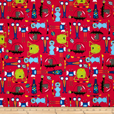 Aliens in space aliens red discount designer fabric for Red space fabric