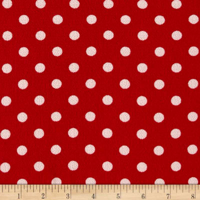 Bubble Crepe Medium Polka Dots Red/White