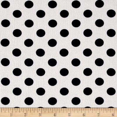 Bubble Crepe Medium Polka Dots Navy/White