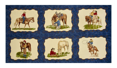 "Moda Cowgirl Country Cowgirl 25"" Panel Denim Blue"