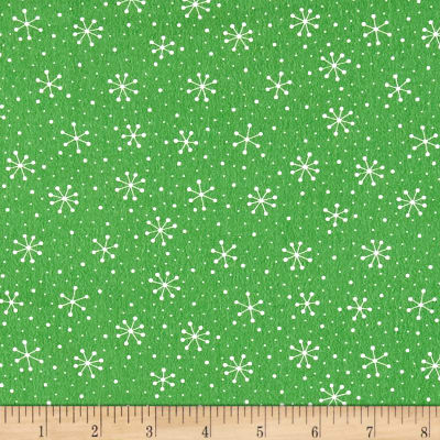 Moda Red Dot Green Dash Brushed Cottons Snowflakes Dots Evergreen