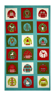 "Moda Eat, Drink & Be Ugly Sweater 24"" Panel Frozen Pond"