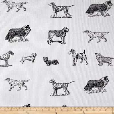 Fabric Merchants Pajama Rib Knit Dogs & Puppies White/Black