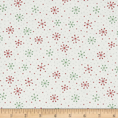 Moda Red Dot Green Dash Snowflakes Dots Multi
