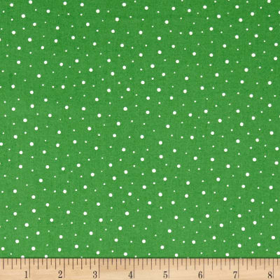 Moda Red Dot Green Dash Flurries Evergreen