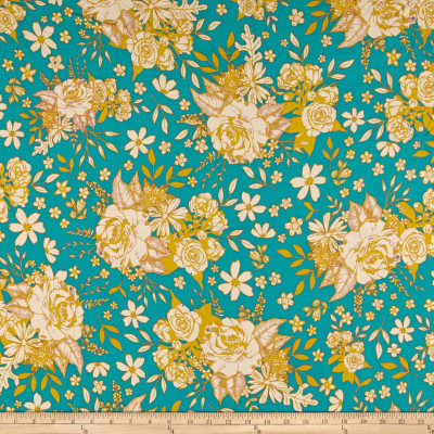 Art Gallery Soulful Rayon Challis Floral Universe Turquoise