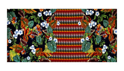 Telio Paola Pique Double Knit Border Floral Black/Orange/Yellow