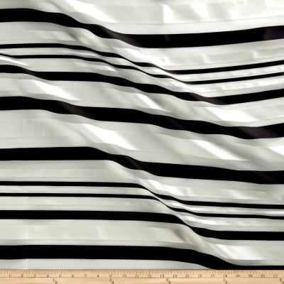 Telio Sheer Satin Organza Stripe Black/White