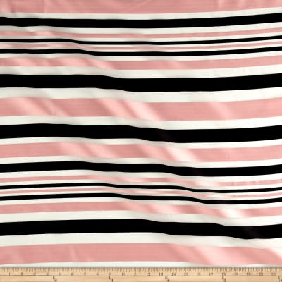 Telio Sheer Satin Organza Stripe Black/Pink Sateen