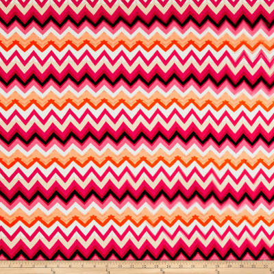 Rayon Spandex Jersey Knit Chevron Red/Pink/Black
