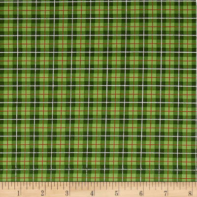 Cozy Cabin Christmas Plaid Metallic Green