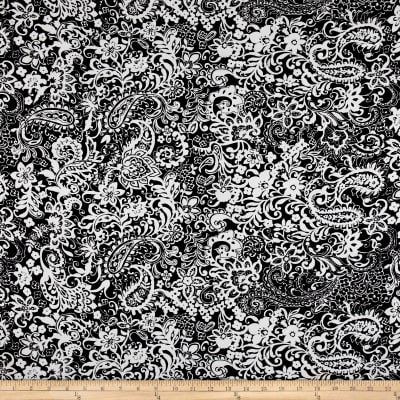 Rayon Challis Stems & Tulips Black/Grey