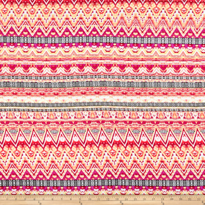 Rayon Challis Stripe Chevron Pink/Yellow