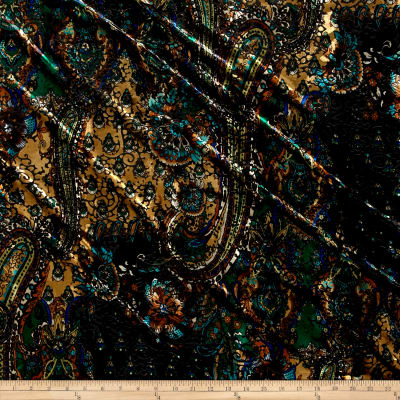 Telio Stretch Velvet Burnout Paisley Floral Green