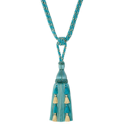 "Mount Vernon 32.5"" Cupola Single Tassel Tieback Aqua"