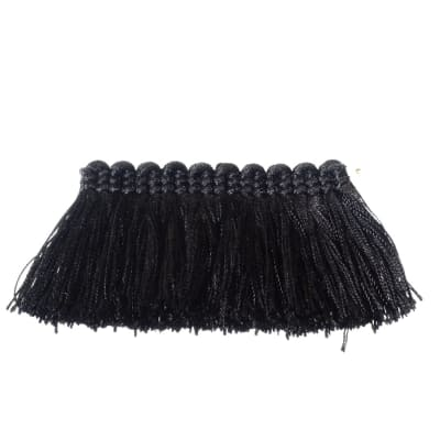 "Fabricut 2"" Everclear Brush Fringe Coal"