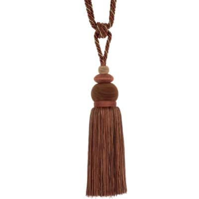"Fabricut 33"" Nisha Single Tassel Tieback Coffee"