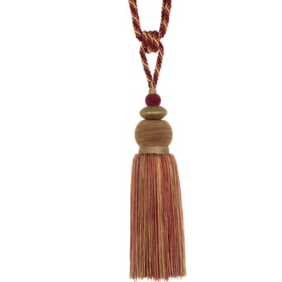 "Fabricut 33"" Nisha Single Tassel Tieback Berry"