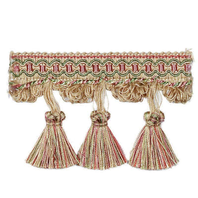 "Fabricut 3.125"" Oran Tassel Fringe Strawberry"
