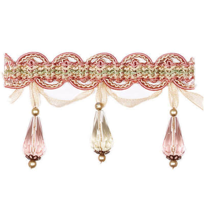 "Fabricut 2.625"" Zara Tassel Fringe Strawberry"
