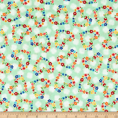 Riley Blake Arbor Blossom Hearts Green