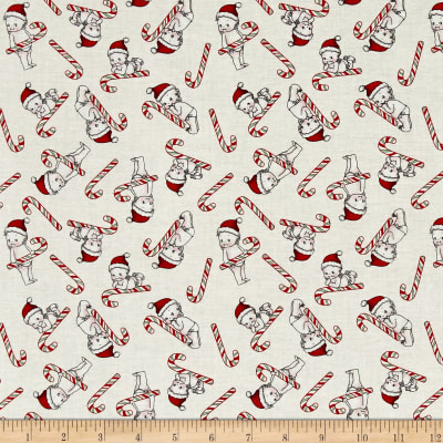 Riley Blake Kewpie Christmas Candy Cane Cream