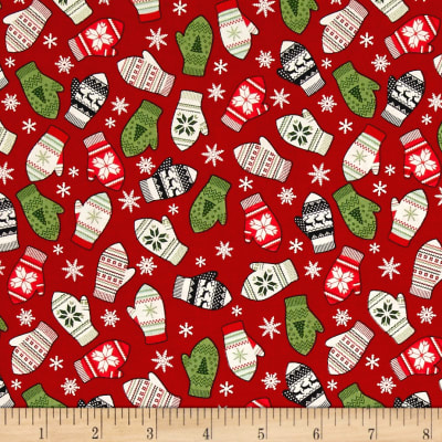 Riley Blake Comfort and Joy Mittens Red