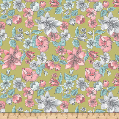 Penny Rose Linen and Lawn Main Green