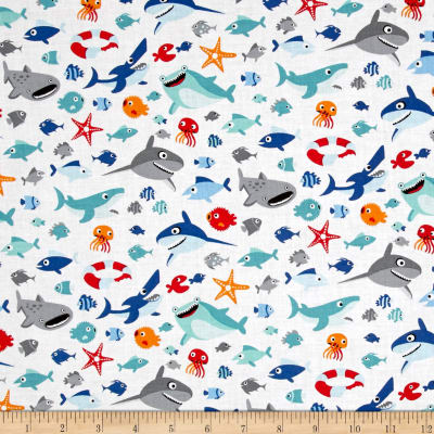 Riley Blake Sharktown Sea Life White