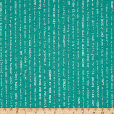 Riley Blake Bee Basics Happy Text Teal