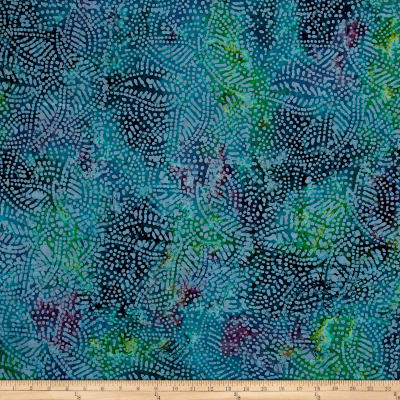 Indian Batik Leaf Dots Blue/Purple/Teal